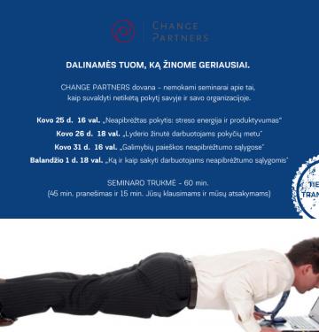 """Kovo 26 d. 18 val. nepraleiskite galimybės dalyvauti virtualiame seminare """"Lyderio žinutė darbuotojams pokyčių metu"""""""